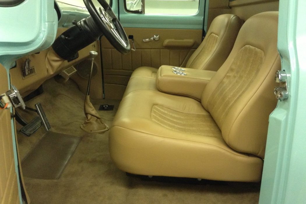1954 Ford F100 leather seats and upholstery installed at Sound Investment in Columbus Ohio