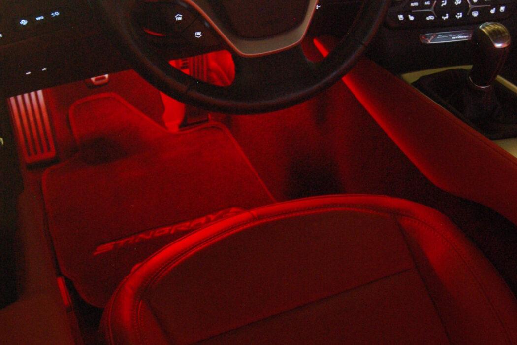 2014 Corvette C7 ambient LED lighting installed at Sound Investment in Columbus Ohio