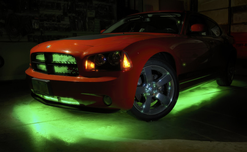 Dodge Charger with grill lighting and underbody lighting