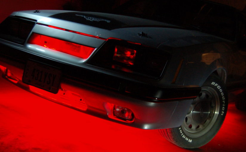 1985 Ford Mustang GT with underbody and grill lighting