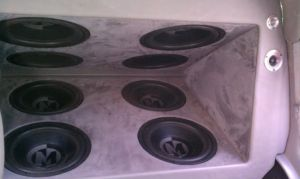 8 subwoofers installed in a Cadillac Escalade at Sound Investment in Columbus Ohio
